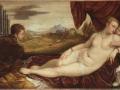 504Titien (vers 1488-1576)  Vénus au joueur d'orgue  (v. 1550-1552) Huile sur toile H. : 115 cm ; L. : 210 cm Berlin, Gemäldegalerie