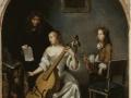 705Caspar Netscher (1639-1684), La leçon de basse de viole ou Joueur de basse de viole, vers 1664-1665. Huile sur bois, 48 x 36 cm. Paris, musée du Louvre.