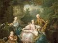 711 Francois-Hubert Drouais (1727-1775), Le marquis de Sourches et sa famille, 1756. Huile sur toile, 324 x 284 cm. Versailles, châteaux de Versailles et de Trianon (emplacement : corps central, appartement capitaine Gardes, ancien réchauffoir).