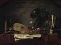 712Jean Simeon Chardin (1699-1779), Les attributs de la musique, 1765. Huile sur toile chantournée à oreilles, 91 x 145 cm. Paris, musée du Louvre.