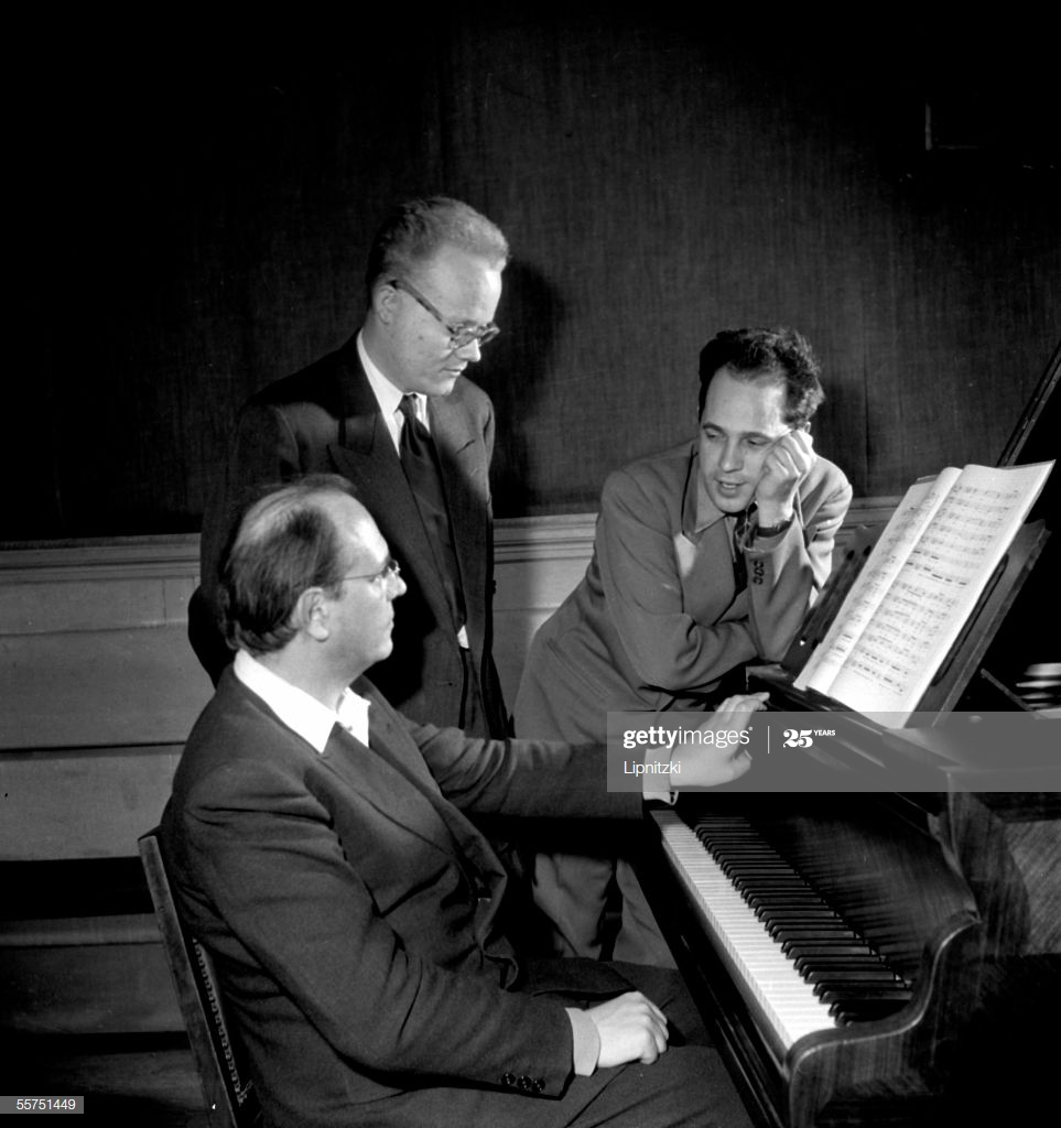 FRANCE - 1954:  Pierre Boulez, Michel Fano and Olivier Messiaen, French composers (from left to right). March, 1954. LIP-2049-012.  (Photo by Roger Viollet via Getty Images/Roger Viollet via Getty Images)