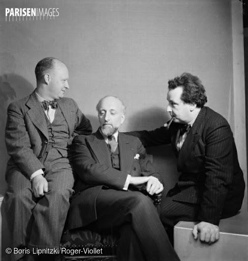 Paul Hindemith (1895-1963), compositeur américain d'origine allemande, Arthur Honegger (1892-1955), compositeur suisse et Ernest Ansermet (1883-1969), chef d'orchestre suisse. Paris, juin 1935.