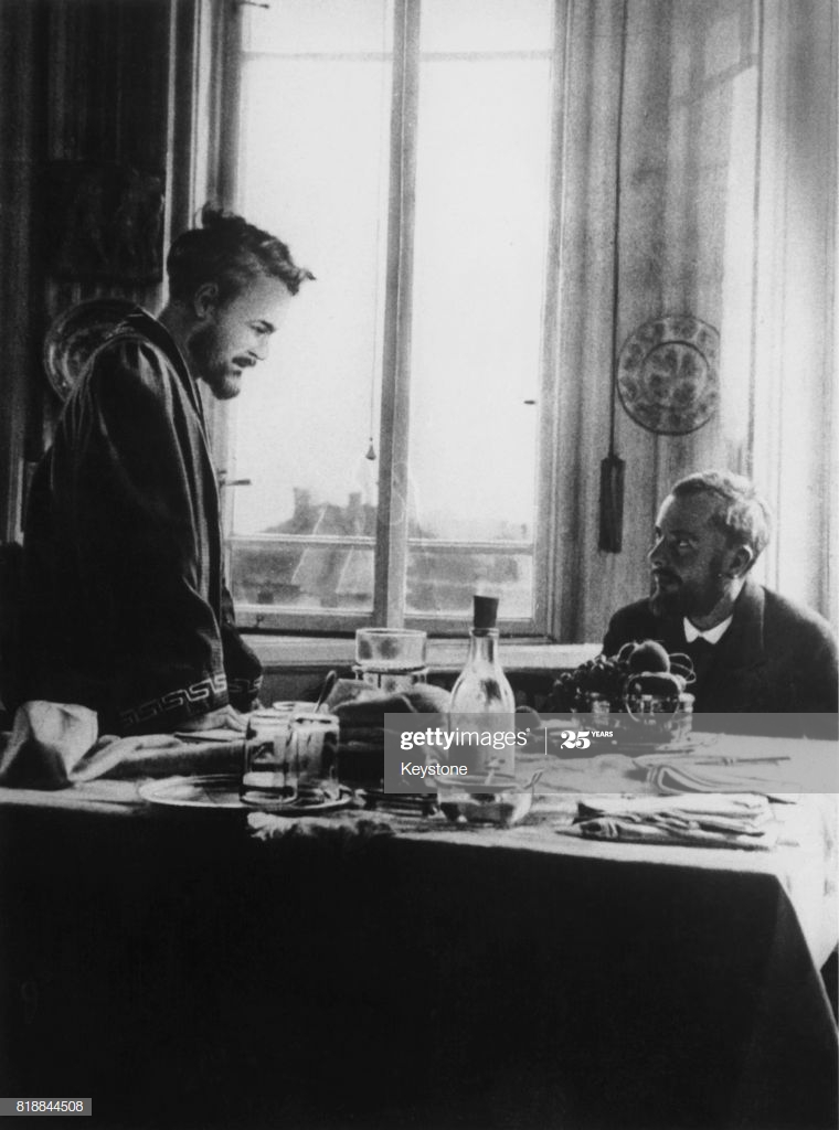 Hungarian composer Bela Bartok (1881 - 1945) with linguist and composer Zoltan Kodaly (left) at Kodaly's home in Budapest, Hungary, 1912. (Photo by Keystone/Hulton Archive/Getty Images)