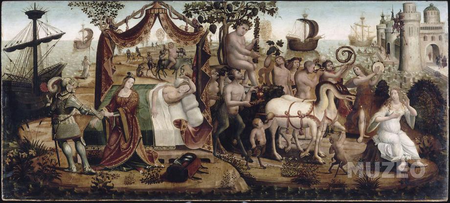 34 - Maîtres des cassoni Camana - L'abandon d'Ariane endormie à Naxos et l'arrivée de Bacchus