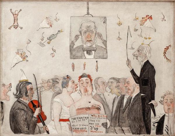 207James Ensor (1860-1949) Au conservatoire  1902 Huile sur toile marouflée sur panneau H. : 56,5 cm ; L. : 71,5 cm Paris, musée d'Orsay