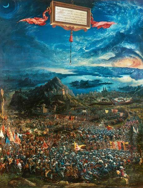 214Albrecht Altdorfer (vers 1480-1538)  La bataille d'Alexandre (Bataille d'Issus) 1529 Huile sur bois H. : 158,4 cm ; L. : 120,3 cm (allseitig beschnitten) amputé  Munich, Bayerische Staatsgemäldesammlungen, Alte Pinakothek