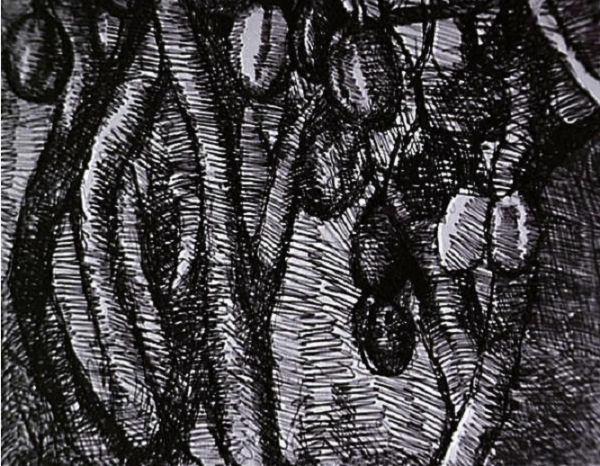 215Louis Soutter (1871-1942) Glace d'argent, miroir d'ébène Vers 1938 Encre noire et gouache rouge sur papier H. : 44 cm ; L. : 58,1 cm Lausanne, musée cantonal des Beaux-Arts