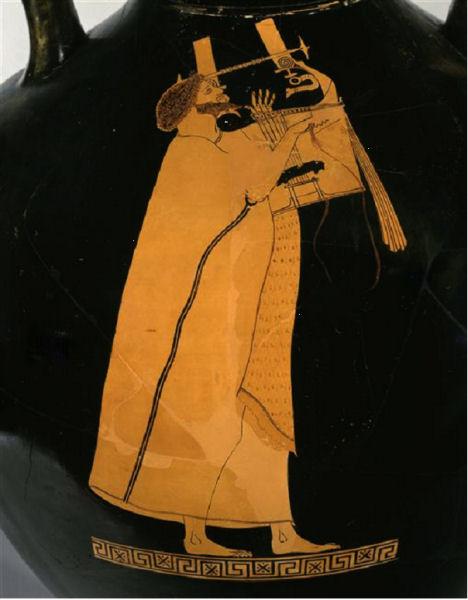 301Peintre de Berlin (vers 510-vers 460) Kitharède (détail de la face A) 490-480. Céramique (amphore de type panathénique à figure rouge) Hauteur du vase : 64,7 cm Paris, musée du Louvre, n° inv. MNE 1005