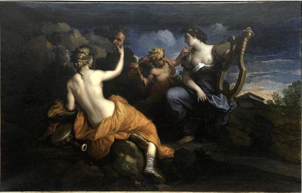 306Louis de Boullogne, le Jeune (1654-1733)  Thalie et Ératô, muses de la Comédie Vers 1680 Huile sur toile H. : 98 cm ; L. : 120 cm Château de Fontainebleau