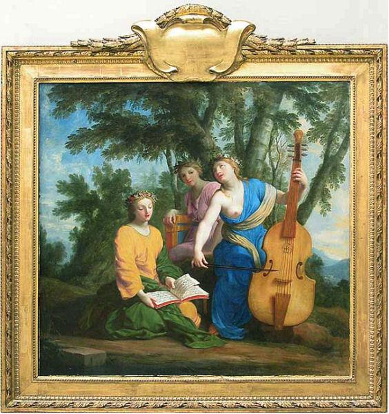 307Eustache Le Sueur (1616-1655)  Melpomène, Erato et Polymnie Vers 1652-1655 Huile sur bois H. : 1,30 m ; L. : 1,38 m Paris, musée du Louvre.