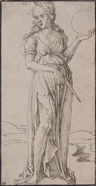 308Albrecht Dürer (1471-1528)  Uranie tenant le compas et le globe Vers la première moitié du XVIe siècle Encre brune, plume H. : 19,6 cm ; L. : 10,1 cm Paris, musée du Louvre