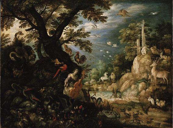 401Roelandt Savery (1576-1639) Paysage avec Orphée charmant les animaux 1611 Huile sur bois (chêne) H. : 0.406 m : L. : 0.543 m  Berlin, Gemäldegalerie.