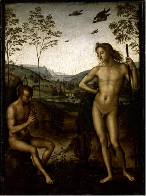 407Le Pérugin (vers 1448-1523)  Apollon et Marsyas Vers 1490-1492 Huile sur bois H. : 39 cm ; L. : 29 cm Paris, musée du Louvre