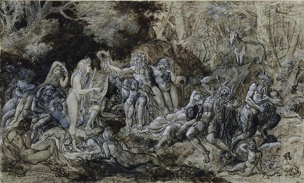 408Girodet -Trioson (1767-1824)  Le jugement de Midas Crayon noir, plume et encre brune, lavis brun, rehauts de gouache blanche H. : 30,2 cm ; L. : 50 cm Paris, musée du Louvre