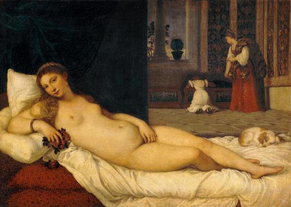 501Titien (vers 1488-1576)  Vénus d'Urbin 1538 Huile sur toile H. : 119 cm ; L. : 165 cm Florence, musée des Offices