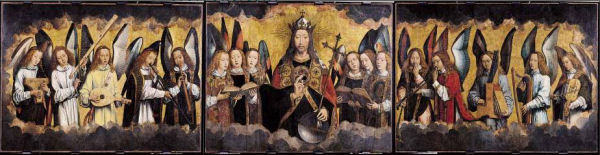 608Hans Memling (1433-1494),  Le Christ entouré d'anges chanteurs et musiciens, vers 1480.     Huile sur bois (chêne), 212,7 x 169,7 cm.