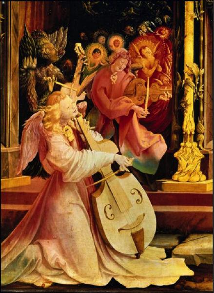 610Matthias Grünewald (vers 1475-1528)  Le concert des anges (détail de l'Incarnation) Partie centrale du retable ouvert d'Issenheim Vers 1512-1516