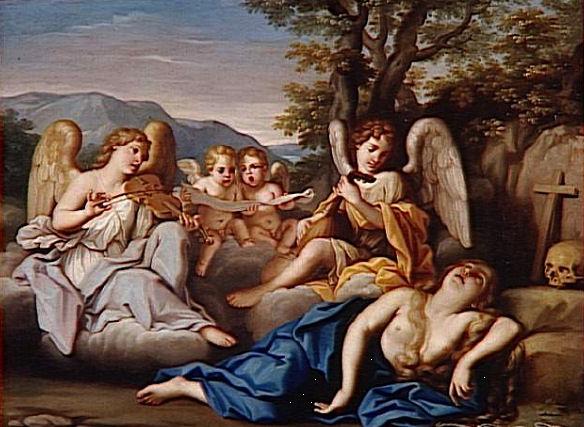 614Marco Antonio Franceschini (1648-1729) L'extase de la Madeleine avec des anges musiciens 4e quart du XVIIe siècle Huile sur toile H. : 44 cm ; L. : 58 cm Paris, musée du Louvre