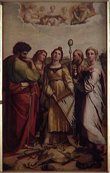 615François Bellay (vers 1790-vers 1858) L'extase de sainte Cécile, d'après Raphaël Aquarelle H. : 99 cm ; L. 62 cm Paris, musée du Louvre