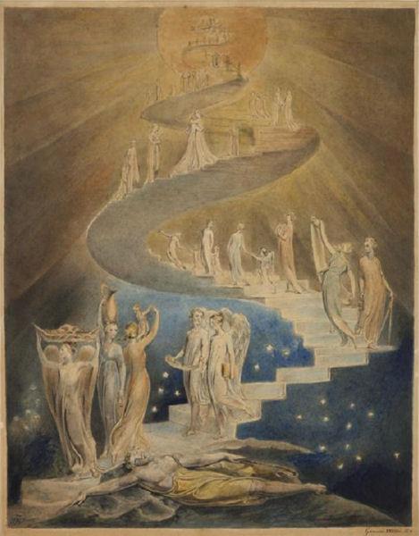 618William Blake (1757-1827)  L'échelle de Jacob ou Le rêve de Jacob Vers 1799-1807 Aquarelle, encre grise, plume H. : 39,8 cm ; L. : 30,6 cm Londres, The British Museum
