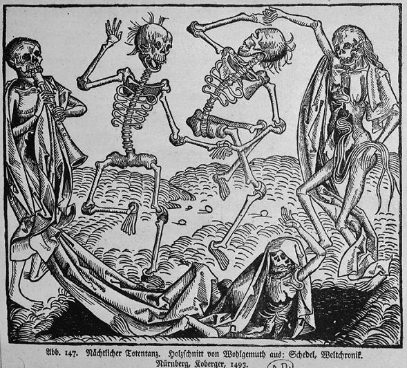 621Michael Wolgemut (1434-1519)   Danse macabre nocturne 1493 Gravure sur bois tirée du Liber chronicarum (« Chronique universelle ») de Hartmann Schedel (Nuremberg, 1493) H. : 29,7 cm ; L. : 25,4 cm Paris, bibliothèque des Arts décoratifs