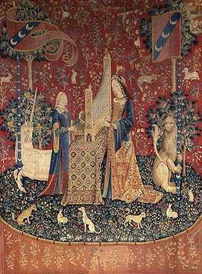 701Tenture de la Dame à la Licorne : l'Ouïe (détail). 1500-1510. Musée de Cluny.