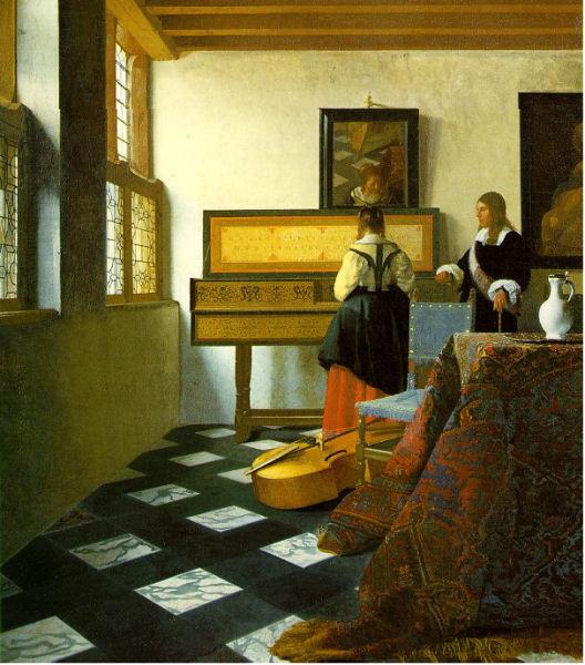 707Vermeer de Delft (1632-1675), La leçon de musique, vers 1662-1665. Huile sur toile, 73,3 x 64,5 cm. Londres, collection royale, avec la permission de Sa Majesté la Reine