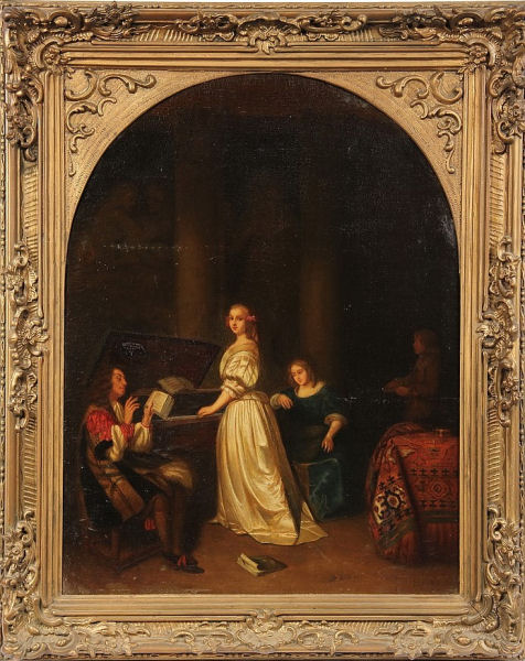 709Caspar Netscher (1635-1684), Femme au piano et chanteur, 1666. Huile sur toile marouflée sur bois de chêne, arrondi en haut, 59,5 x 46 cm. Dresde, Gemaldegalerie Alte Meister, Staatliche Kunstsammlungen