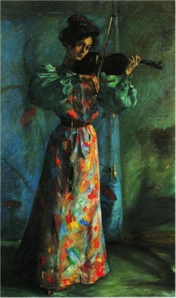 717Lovis Corinth (1858-1925), Die Geigenspielerin (« La violoniste »), 1900. Huile sur toile, 202,5 x 118,5 cm. Bochum, Collection particulère.