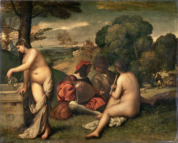 729 Titien (vers 1488-1576), Le concert, vers 1510. Huile sur toile, 109 x 123 cm. Florence, Palazzo Pitti, Galleria Palatina Sala di Venere.