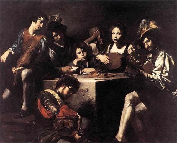 723 Valentin de Boulogne (1594-1632), Un concert, vers 1628-1630. Huile sur toile, 175 x 216 cm. Paris, musée du Louvre.