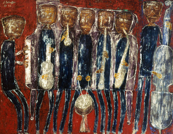 728 Jean Dubuffet (1901-1985), Jazz band (Dirty Style Blues), 1944. Huile sur toile, 97 x 130 cm. Paris, musée national d'Art moderne ¬Centre Georges-Pompidou.
