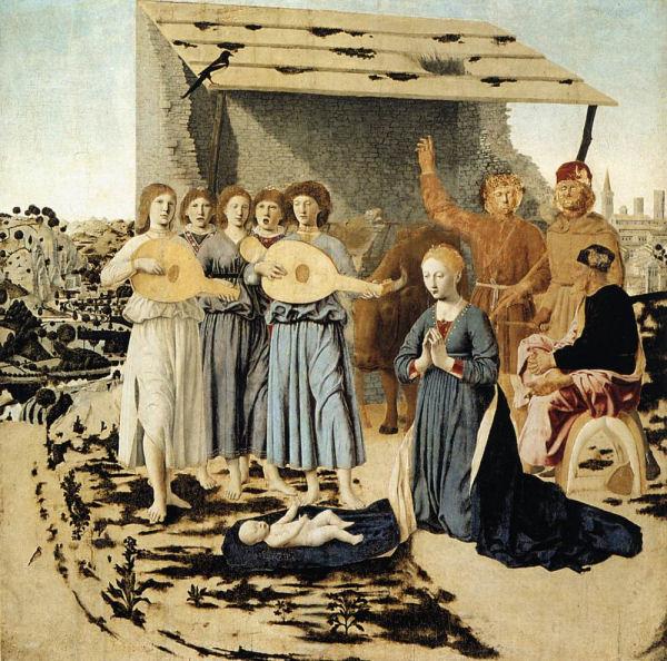 732Piero della Francesca (vers 1422-1492), La Nativité, 1470-1475. Huile sur bois (peuplier), 124 x 122 cm. Londres, The National Gallery.