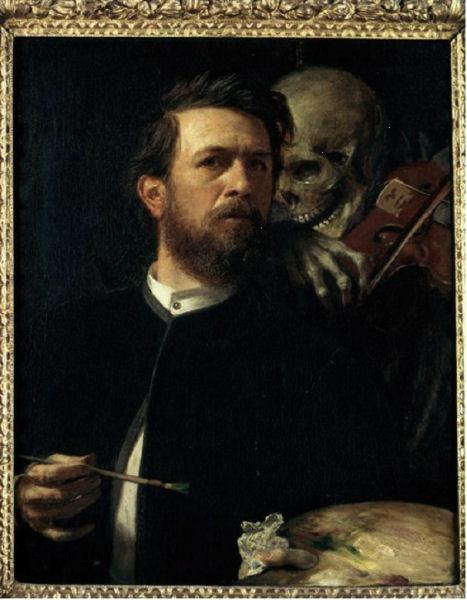 816Arnold Böcklin : Selbstbildnis mit fiedelndem Tod (« Autoportrait avec la Mort au violon »). 1872. Staatliche Museen zu Berlin. Nationalgalerie.