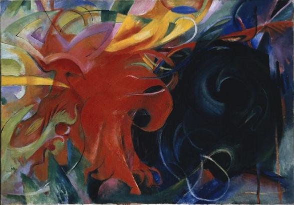 908Franz Marc (1880-1916), Kämpfende Formen (« Formes combattantes »), 1914. Huile sur toile, 91 x 131,5 cm. Munich, Pinakothek der Moderne, Sammlung Moderne Kunst.