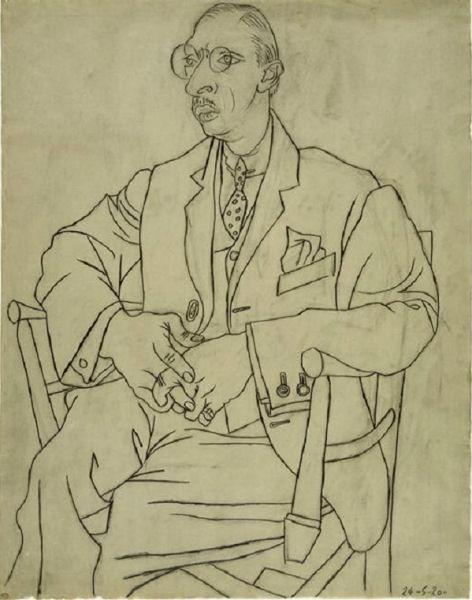 812Pablo Picasso (1881-1973), Portrait d'Igor Strawinsky, 24 mai 1920. Crayon de graphite et fusain sur papier à dessin vergé, 62 x 48,5 cm. Paris, musée Picasso.