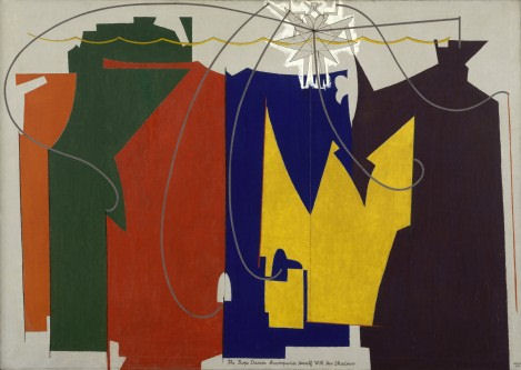 """916Man Ray (1890–1976 )The Rope Dancer Accompanies Herself with Her Shadows 1916. Oil on canvas, 52"""" x 6' 1 3/8"""" (132.1 x 186.4 cm)"""