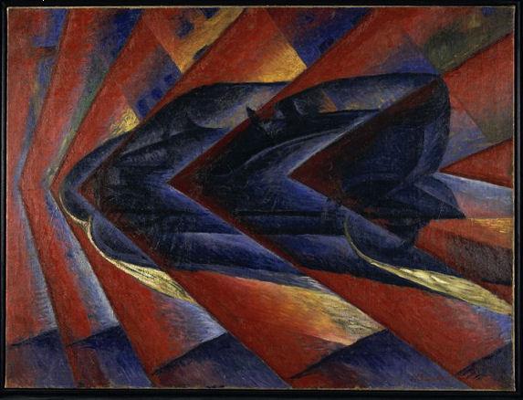 918Luigi Russolo (1885-1947), Automobile in corsa (« Dynamisme d'une automobile »), 1912-1913. Huile sur toile, 106 x 140 cm. Paris, Centre Georges-Pompidou.