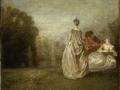 218Jean-Antoine Watteau (1684-1721)  Les deux cousines Vers 1716 Huile sur toile H. : 30 cm ; L. : 36 cm Paris, musée du Louvre