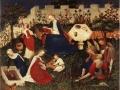 616Maître du Haut Rhin (actif vers 1410-1420)  Le jardin du Paradis Vers 1410-1420 Technique mixte sur bois de chêne H. : 26,3 cm ; L. : 33,4 cm Francfort, Städel Museum