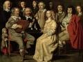 710Antoine Le Nain : La réunion musicale, dit aussi Réunion de famille ou Portraits dans un intérieur, signé Le Nain. fecit 1642 ( ?). Huile sur cuivre, 32 x 40 cm. Paris, musée du Louvre.