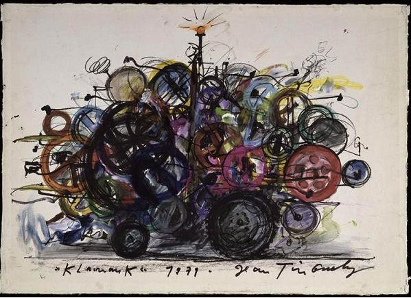 923Jean Tinguely (1925-1991), Klamauk, 1979. Encre de chine, feutre, crayon, pastel gras, peinture acrylique sur papier contrecollé sur carton, 45 x 63 cm. Paris, musée national d'Art moderne – Centre Georges-Pompidou.