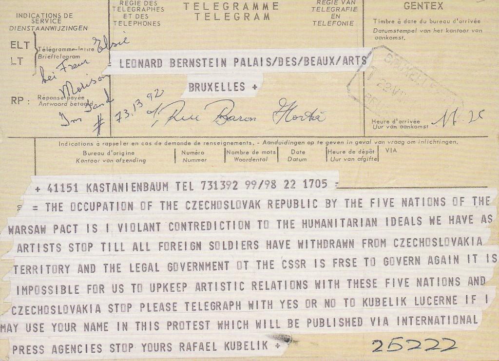 Communist country boycott call telegram from Kubelik to Bernstein