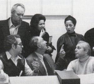 Thomas Stewart, Helen Donath, Tereza Berganza, Wieslaw Ochman during the recording sessions of Beethoven 9